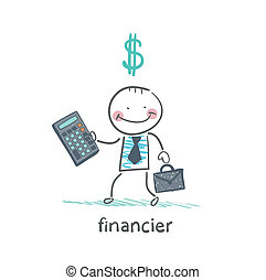 financier with a calculator and dollar signs