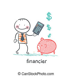 financier with a calculator and piglets piggy bank