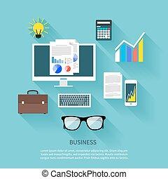 Financier workplace flat design concept - Concept in flat...