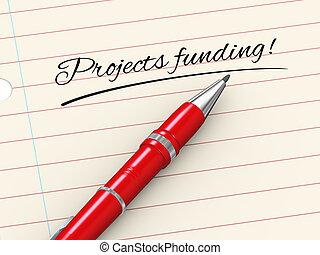 financiering, -, pen, papier, projecten, 3d