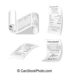 financiero, aislado, colección, papel, vector, blanco, ...