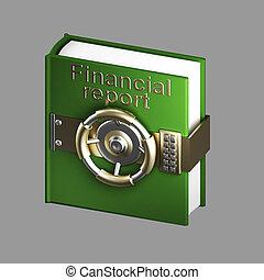 financiero, aislado, gris, libro, informe, cámara acorazada