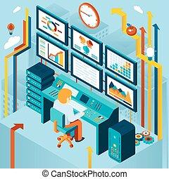 financiero, analytics, y, empresa / negocio, análisis