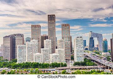 financiero, beijing, contorno, distrito, china, moderno
