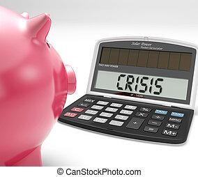 financiero, calculadora, problema, crisis, mercado, exposiciones
