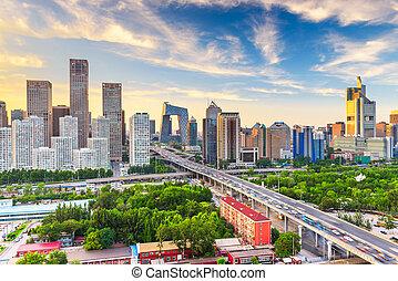 financiero, china, contorno, moderno, distrito, beijing