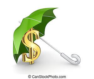 financiero, concept., protección
