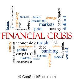 financiero, concepto, palabra,  crisis, nube