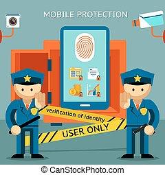 financiero, confidencialidad, móvil, protection., teléfono, ...