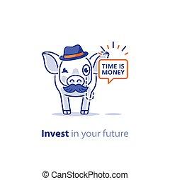 financiero, dar, cerdo, concepto, bigote, consejo, sombrero, inversión, elegante