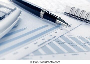 financiero, datos, concepto, con, pluma