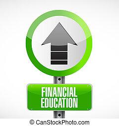 financiero, educación, muestra del camino, concepto