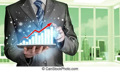 financiero, empresa / negocio, tableta, trabajo, computadora, utilizar, datos, hombre
