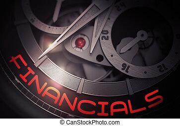financiero, en, el, mecánico, reloj de pulsera, mechanism., 3d.