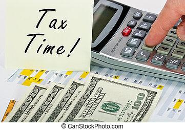 financiero, formas, con, pluma, calculadora, dinero, y, sticker.