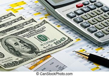 financiero, formas, con, pluma, calculadora, y, dinero.