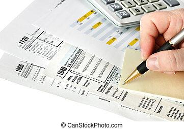 financiero, formas, con, pluma, calculadora, y, sticker., isolated.