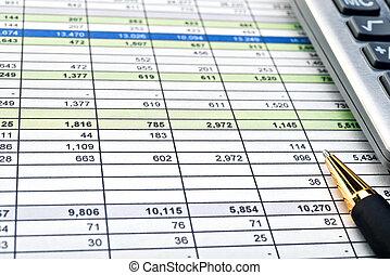 financiero, formas, con, pluma y, calculator.