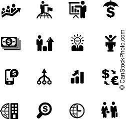 financiero, iconos del negocio, --, serie, negro