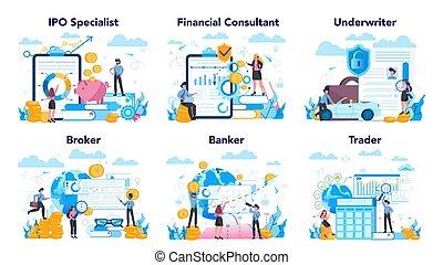 financiero, idea, set., acción, profesión, mercado, ...