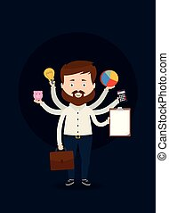 financiero, illustration., empresa / negocio, icons., vector, tenencia, hombre de negocios