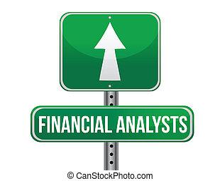 financiero, ilustración, señal, diseño, analista, camino