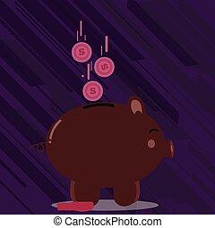 financiero, inversiones, matters., colorido, dinero, coins, dólar, idea, ilustración, creativo, abajo, moneda, ahorros, cerdito, plano de fondo, slit., caer, lado, banco, vista