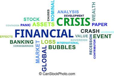 financiero, nube, -, crisis, palabra
