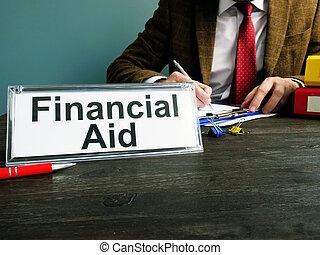 financiero, oficina., ayuda, título, placa