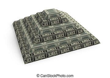 financiero, render, pirámide, aislado, blanco, 3d