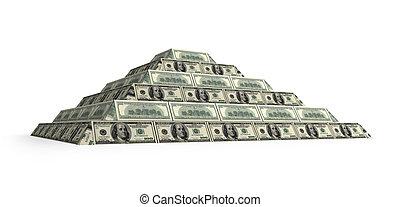financiero, render, pirámide, aislado, dollar's, blanco, 3d