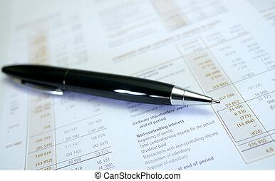 financiero, resultados, con, pluma
