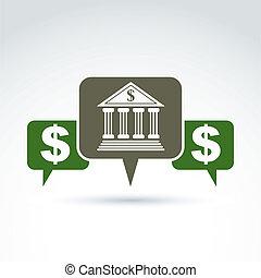 financiero, símbolo, banca, vector, discurso, icon.,...