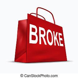 financiero, símbolo, problemas, Se estropeó