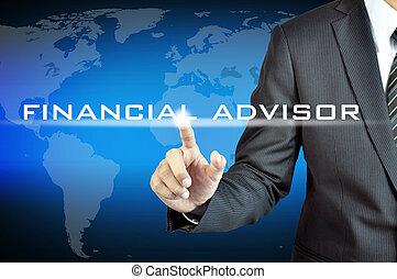 financiero, señalar, pantalla, virtual, mano, consejero, hombre de negocios, señal