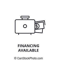 financing available line icon, outline sign, linear symbol, vector, flat illustration