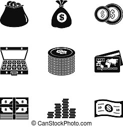 Financing icons set, simple style
