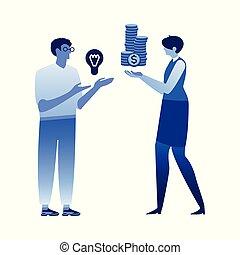 Financing vector illustration - man holding light bulb and...