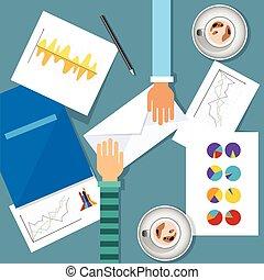 finans, affär, graf, topplista,  Workplace, skrivbord, dokument, Möte