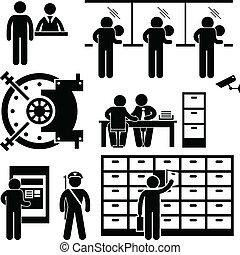 finans, arbetare, bank, affär, personal