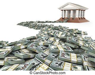 finans, concept., dollars, och, bank, anläggning.