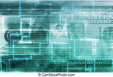 finans, digitale, data, begreb