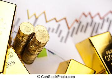 finans, guld peng, bommar för, begrepp