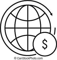 finans, ikon, globale, firmanavnet, udkast