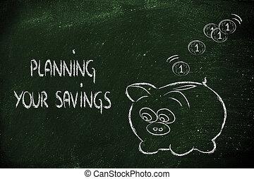 finans, och, besparingpengar, rolig, piggy packa ihop, med,...