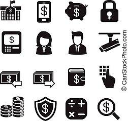 finans, sæt, silhuet, bankvirksomhed, iconerne, penge, bankvirksomhed, vektor, internet, investering