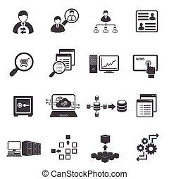 finanse, handlowy, komplet, cielna, dane, ikona