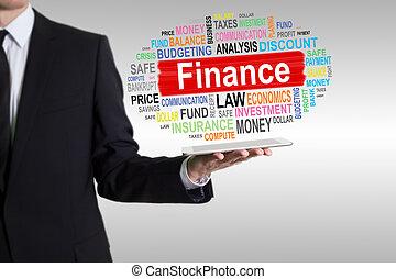 finanse, tabliczka, concept., komputer, dzierżawa, człowiek