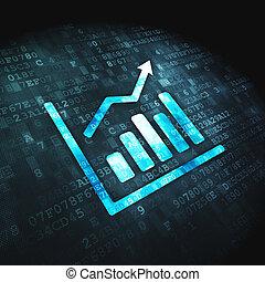 finanse, wykres, wzrost, tło, cyfrowy, concept: