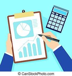 finanse, zameldować, handlowe dokumenty, i, uważając